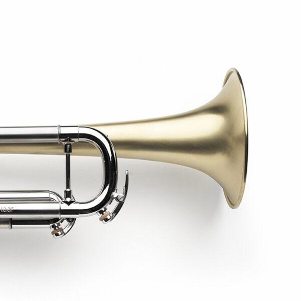 brushed, raw brass bell, palladium-plated corpus